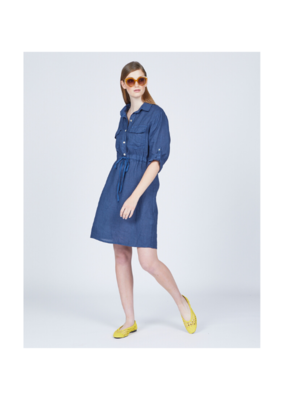 pistache Pistache Linen Safari Dress Mediterranean Blue