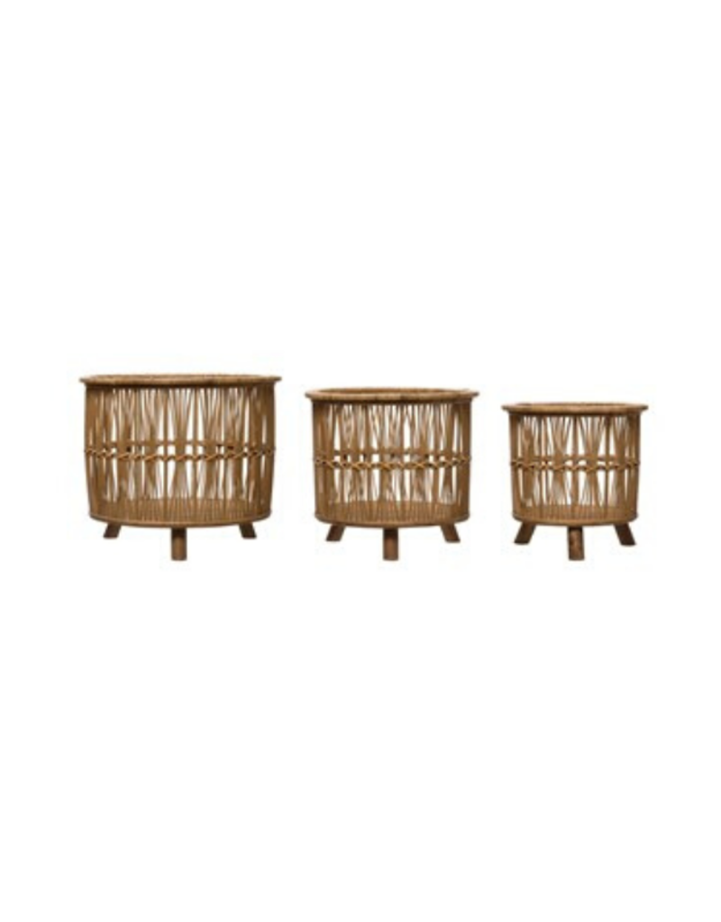 Round Bamboo Footed Basket