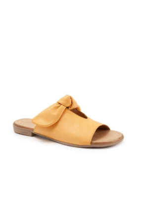 Bueno Joley Slide Sandal in Mustard Leather  by bueno
