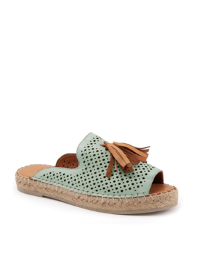 Bueno Navar Tassel Sandal in Pale Green Leather with Coconut by bueno