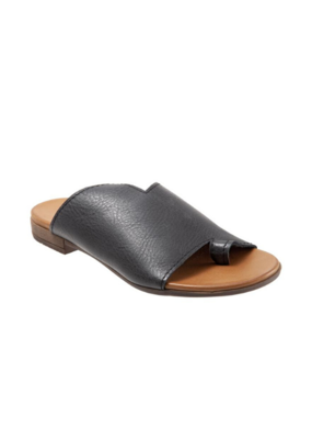 Bueno Tulla Slide Sandal in Black Natural Leather by bueno