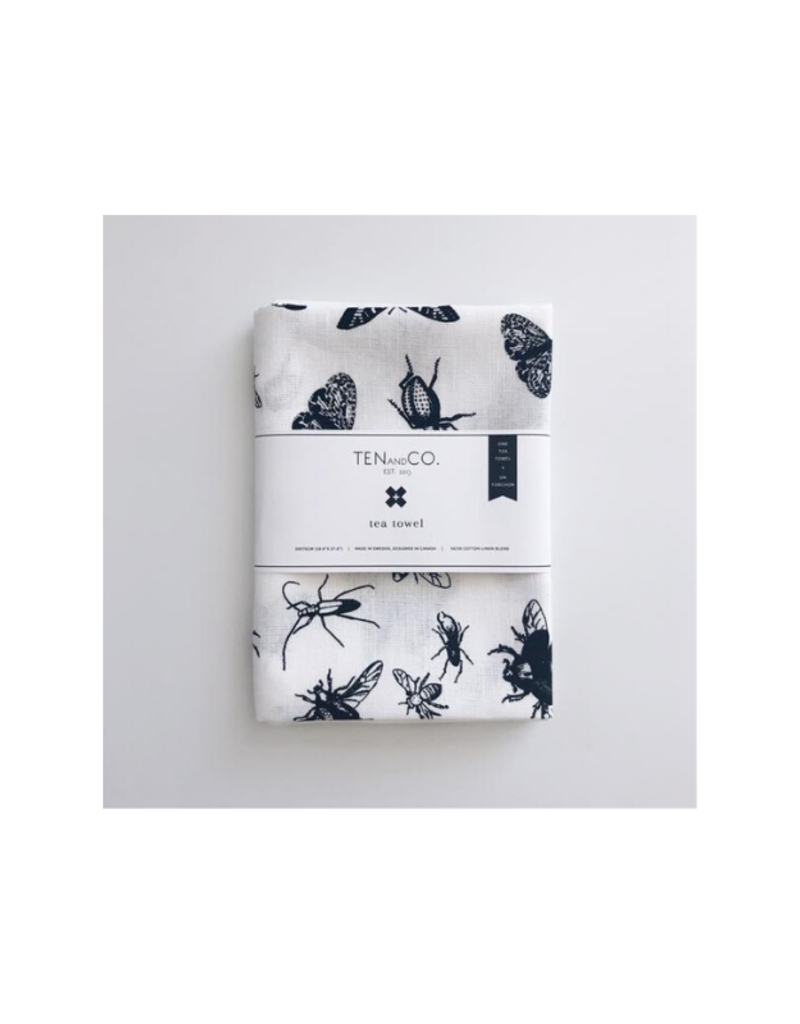 Ten & Co. Ten & Co. Teatowel Bugs Black & White
