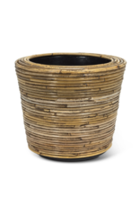 Striped Rattan and Resin Planter Large