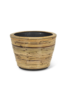 Striped Rattan and Resin Planter Medium