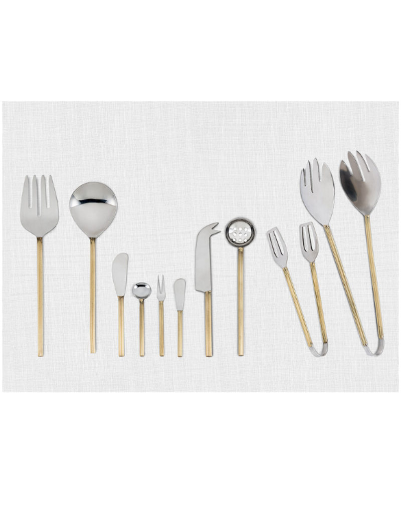 Gold Rib Handle Cocktail Fork