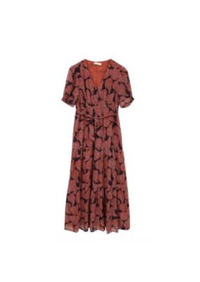 See U Soon Short Sleeve Printed Dress in Brick by See U Soon