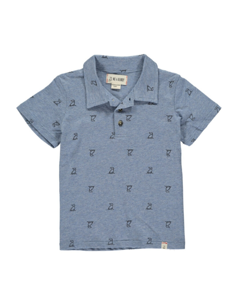 Me & Henry Dog Print Polo Blue by Me & Henry