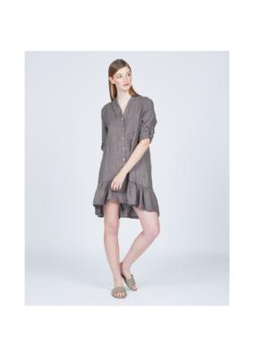 pistache Ruffle Bottom Linen Dress by Pistache