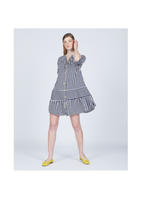 pistache Stripe Crepe Dress in Navy by Pistache