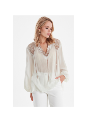 b.young Izabel White Blouse with Embroidery by b.young