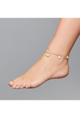 PILGRIM Ocean Love Ankle Chain with Freshwater Pearl in Gold-Plated by Pilgrim
