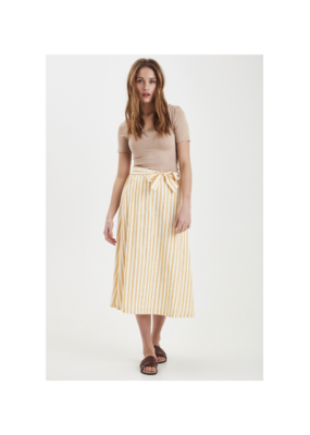 ICHI Cotton Stripe Gry Skirt in Golden Yellow by ICHI