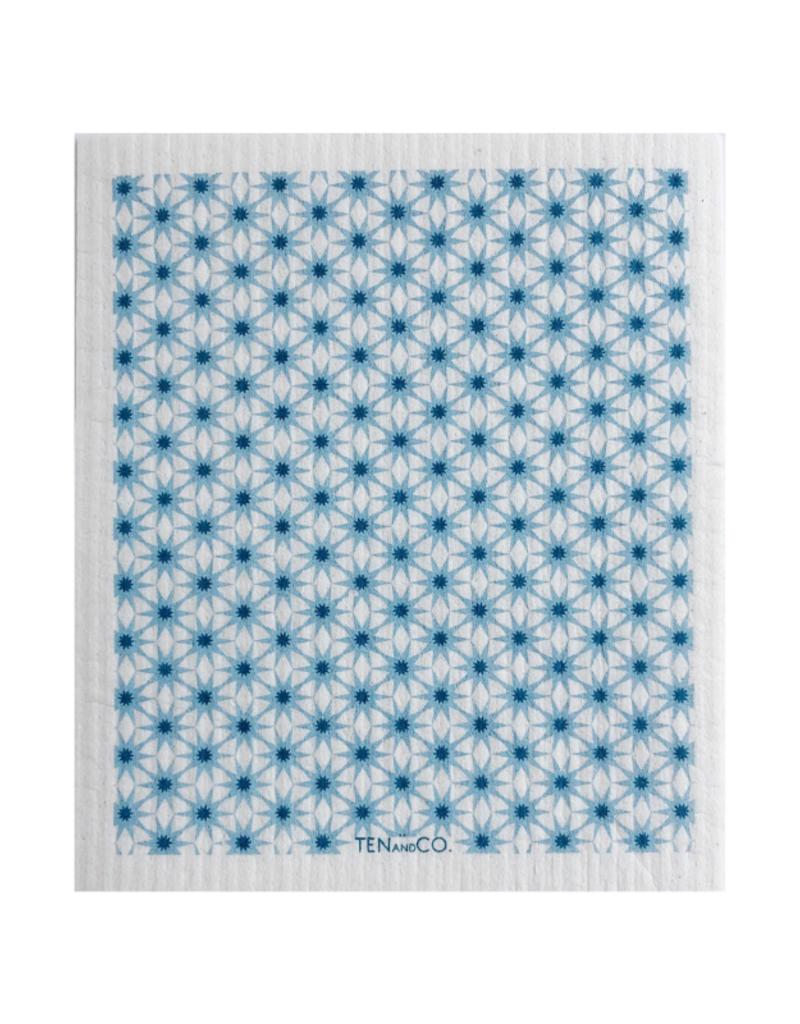 Ten & Co. Swedish Sponge Cloth Starburst Blue & White