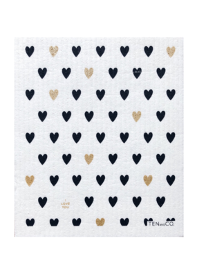 Ten & Co. Swedish Sponge Cloth Hearts Gold & Black