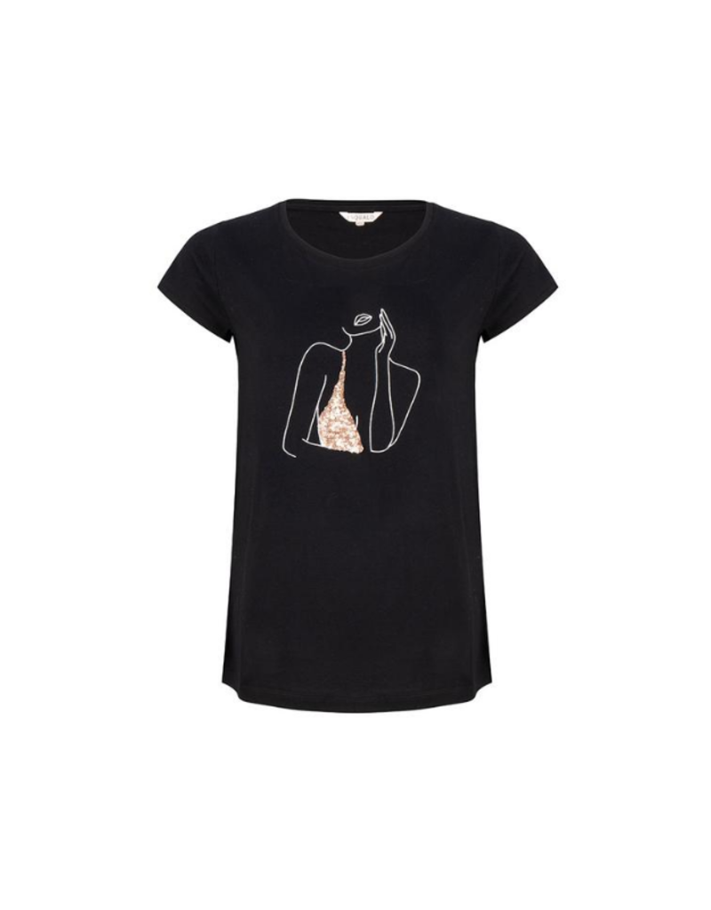 Female Sequined Tee in Black by EsQualo