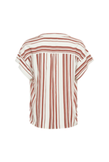 Part Two Drine Blouse in Bold Stripe Brown by Part Two