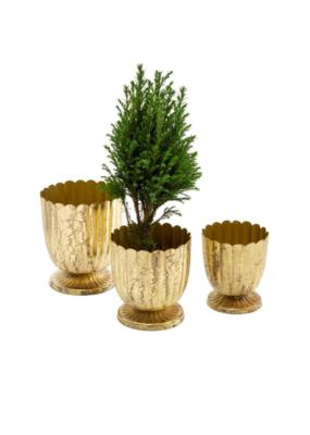 Gold Floralis Metal Urn Planter