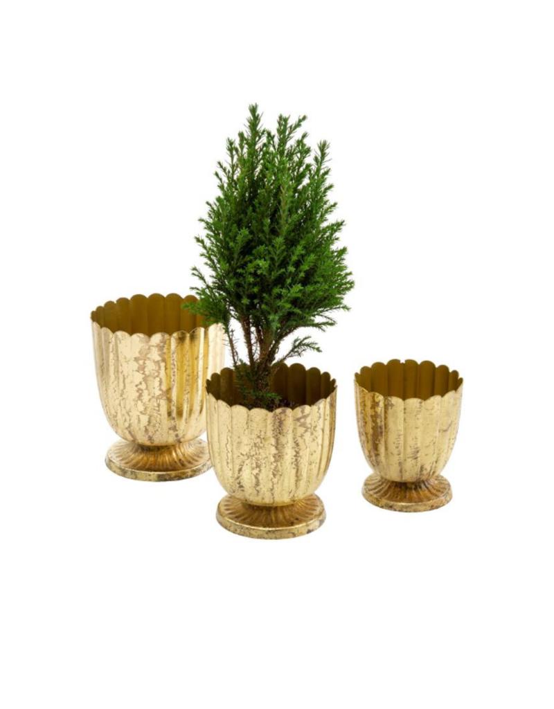 Indaba Trading Gold Floralis Metal Urn Planter