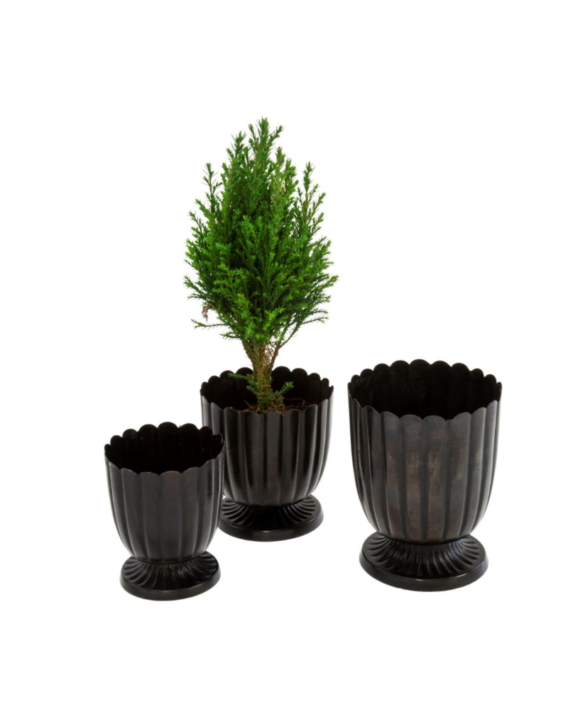 Black Floralis Metal Urn Planter