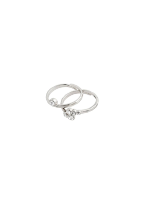 PILGRIM Fran Silver-Plated Crystal Ring by Pilgrim