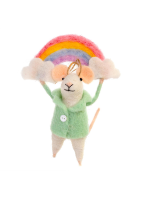 Indaba Trading Over The Rainbow Mouse Ornament