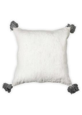 Moroccan Pom Pom Pillow Grey Pom