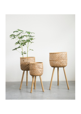Woven Bamboo Basket on Legs