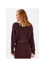 b.young Malto Bat Sleeve Sweater in Winetasting by b.young