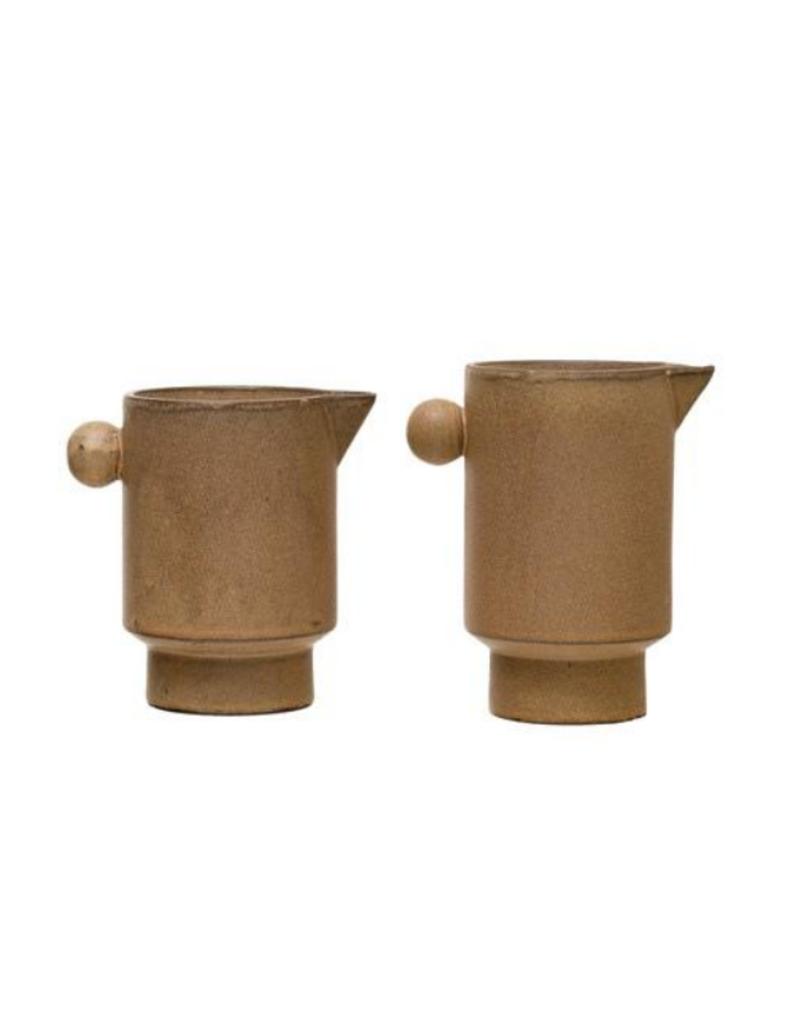 Stoneware Pitcher with Reactive Glaze
