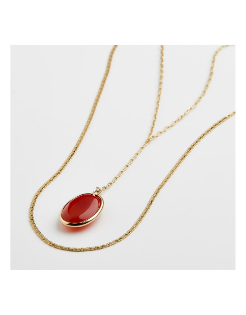 PILGRIM Red Empathy Gold-Plated Necklace by Pilgrim