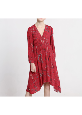 See U Soon V-Neck Printed Red Dress by See U Soon