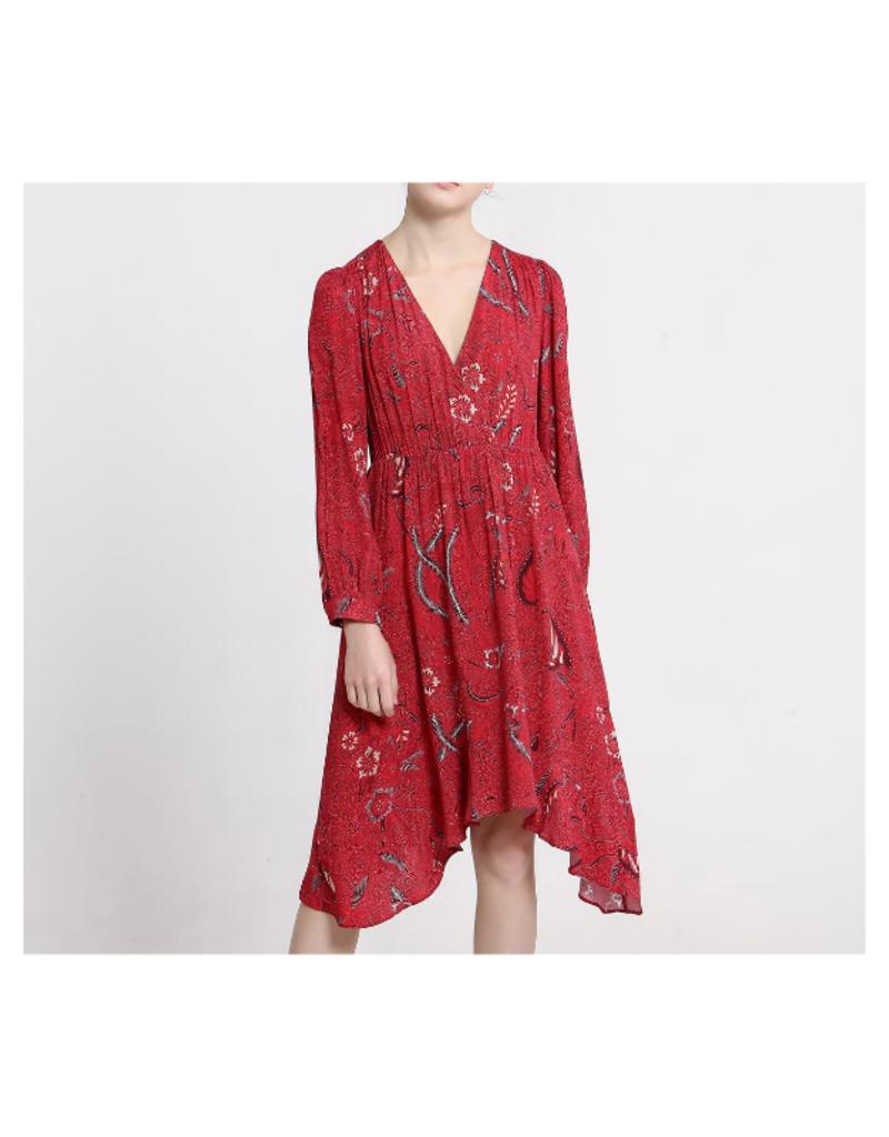See U Soon V-Neck Printed Red Dress by See U Soon