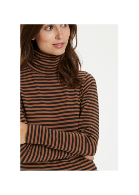 Part Two Taeko Brown Striped Jersey Turtleneck by Part Two