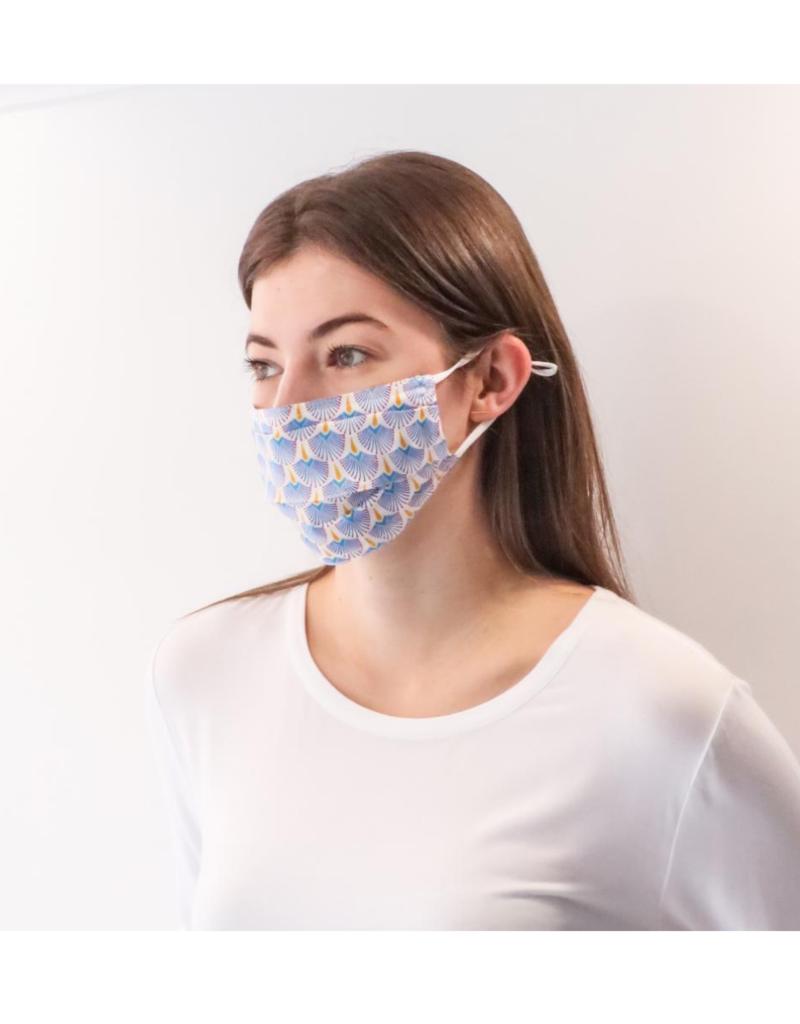 lemonwood Fan Print Silk Pleated Face Mask