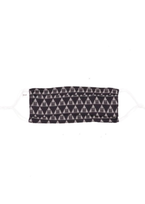 lemonwood Pleated Silk Face Mask Triangle Print