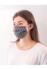 lemonwood Triangle Print Silk Pleated Face Mask