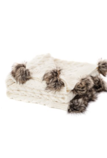 Cream Throw with Faux Fur Pompoms