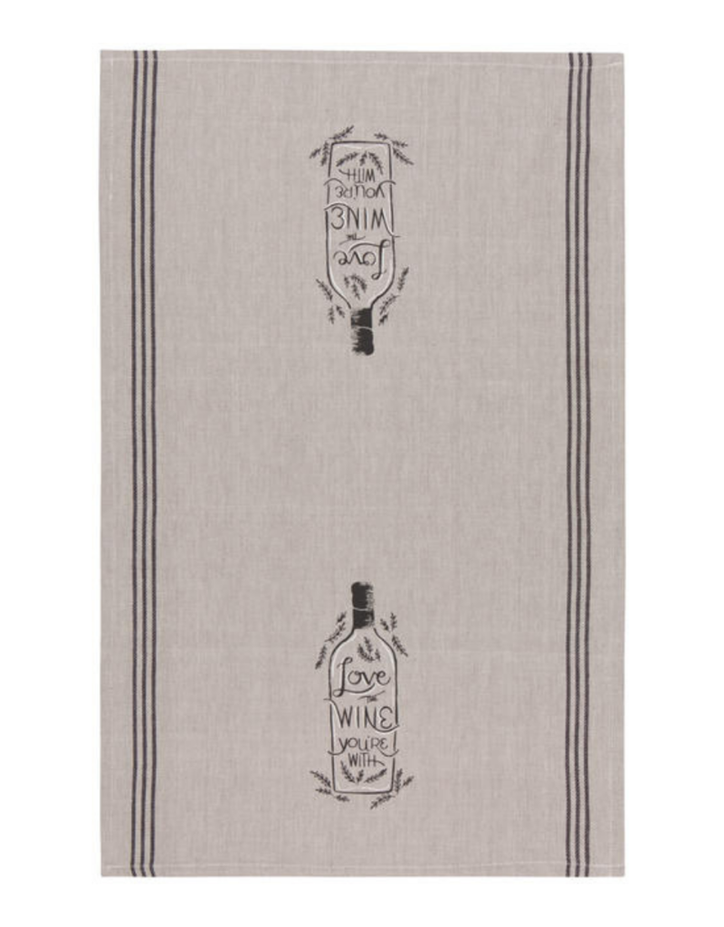 """Chambray Teatowel  """"Love the Wine You're With"""""""