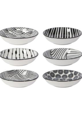 Black Dots Pinch Bowl Set of 6