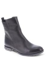 Bueno Aleister Midi-Boot in Black Amalfi Leather by Bueno