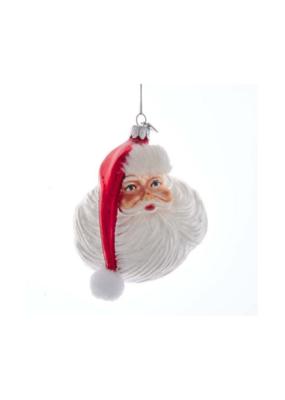 Noble Gems Glass Santa Face Ornament by Kurt Adler