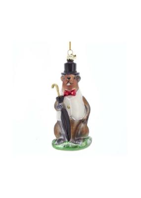 Nobel Gems Glass Groundhog Ornament by Kurt Adler