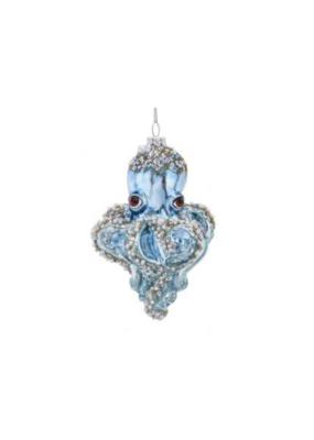 Glass Octopus Blue with Beads Ornament by Kurt Adler