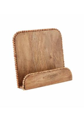 Beaded Brown Wood Cookbook Holder