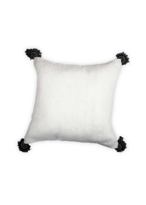 Moroccan Pom Pom Pillow Dark Grey Pom