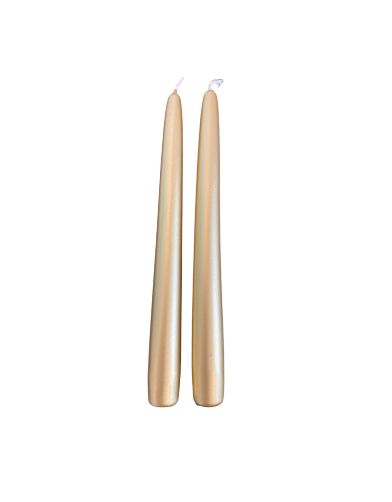 ocd Twilight Taper Candle Set of 2 Gold Metallic