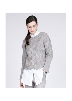 pistache Cableknit & Chain Knit Sweater Grey by Pistache