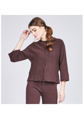 Laced Front Loose Sweater by Pistache