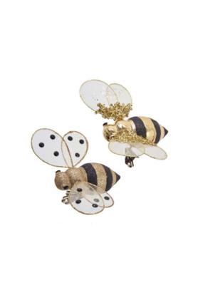Gold Glitter Bee Clip Ornament by Kurt Adler