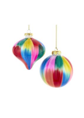 Tie Dye Colour Glass Ornament by Kurt Adler - 2 Assorted Styles